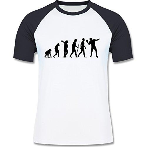 Evolution - Football Evolution - zweifarbiges Baseballshirt für Männer Weiß/Navy Blau