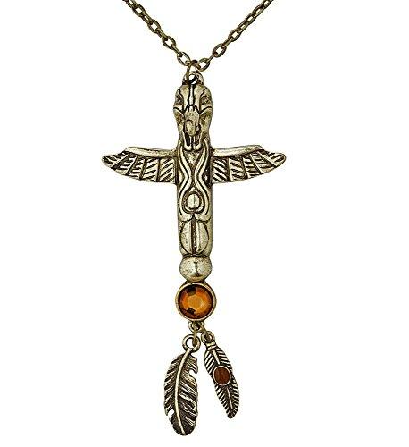 shoperama Goldene Totem Halskette-Kette mit Steinen für Indianerin und Ägypterin Federn Schmuck Damen Kostüm-Zubehör Wilder (Stein Kostüm)