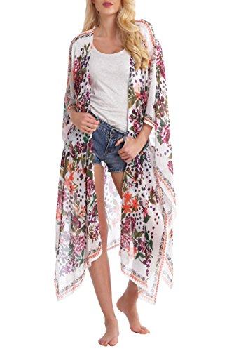 Abollria Damen Kimono Cardigan Chiffon Sommerkleid Floral Print Knielang Beach Cover up Leicht Tuch für die Sommermonate am Strand oder See (Cardigan Tuch,)