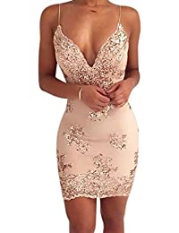 Zehui Women's Deep V Neck Spaghetti Strap Dress Sexy Sequin Backless Party Dress Sleeveless Bodycon Dresses