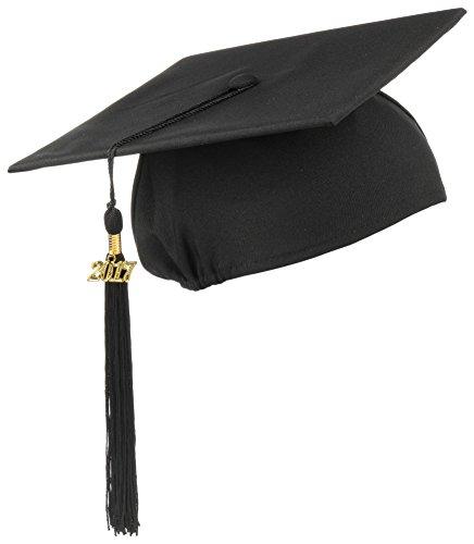 Kostüme 2017 Ideen (Lierys Doktorhut (Studentenhut) mit 2017 Jahreszahl Anhänger, Hut für Abschlussfeiern vom Studium an Universität, Hochschule oder Abitur, Absolventenhut in der Farbe schwarz,)