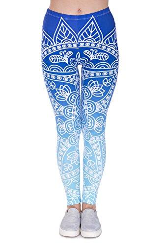 FRINGOO - Legging de sport - Femme Mandala Ombre Blue