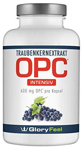 OPC Traubenkernextrakt Kapseln 600mg Intensiv - Der VERGLEICHSSIEGER 2017* - 180 vegane Kapseln mit 95% OPC Gehalt plus Vitamin C - Laborgeprüft ohne unerwünschte Zusätze hergestellt in Deutschland