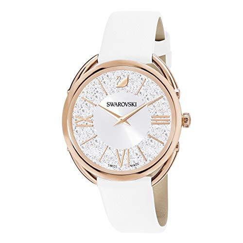 Swarovski Damen Crystalline Glam Armbanduhr für Frauen, weißes Lederarmband, rotgold glänzendes PVD-Finish 5452459
