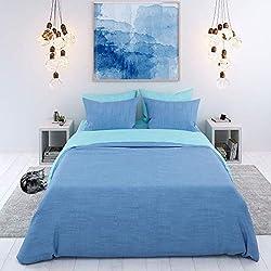 Bettwäsche 100% Baumwolle, 3-teilig, Zweifarbig (Blau-Türkis) - Deckenbezug (200x200 cm) und 2 Kissenbezüge (80x80 cm) - Sehr weicher Stoff 57 Fäden - In Europa hergestellt - Oeko TEX Zertifiziert
