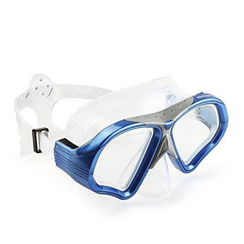 Mee'sport Profi Taucherbrille, Tauchermaske Anti-Fog-Beschichtung Einglas aus Temperglas 100% wasserdicht Tauchmaske erwachsene exklusives Design für Damen und Herren Kinder und Jugendliche
