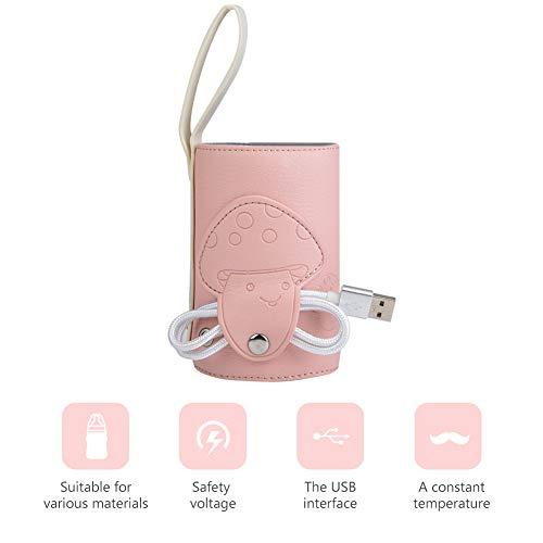 USB Babyflaschenwärmer Tasche Tragbarer Milchflaschenwärmer Heizungswärmer Baby Isolierungs Thermostat Milchnahrung Thermische Wärmer Tasche mit USB Aufladungport für Babypflege(rosa)