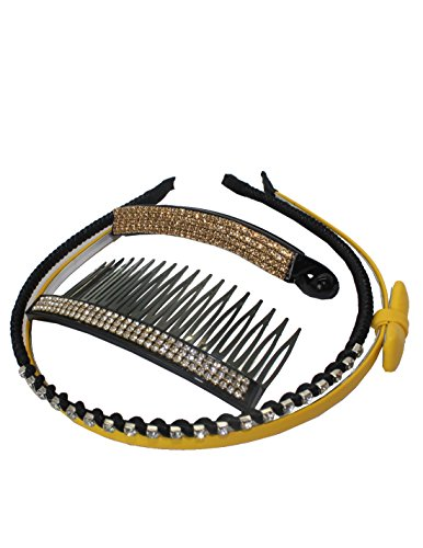 4 PIECE SET: Leather & Rhinestones Inlaid Hair Bands, Resin Banana Clip & Hair Comb (Band Banana)