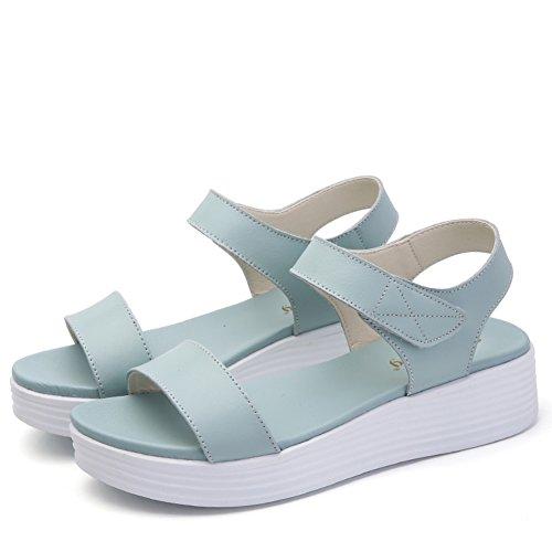 Medio Sandali B Casual Di Scarpe Heels Una Flat Signora Spessa Estate Banda wxgvCXHqq