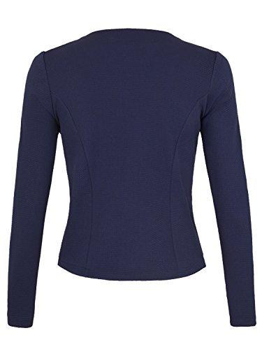 Danaest - Veste de tailleur - Blouson - Uni - Col Chemise Italien - Manches Longues - Femme Bleu - Bleu foncé