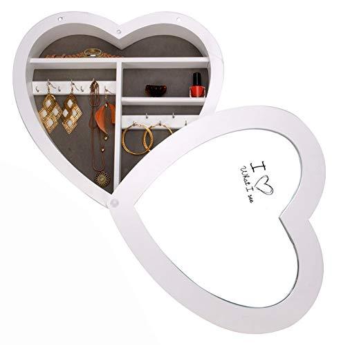 Schmuckschrank Herz mit Spiegel Spiegelschrank Schlüsselschrank Holzschrank Wandschrank Schmuck Aufbewahrung Spiegel
