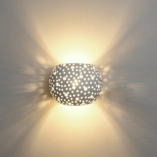 Deckey Lampada Da Parete In Ceramica, Illuminazione Decorativa In Gesso Applique LED Palla, Luce Effetto Interno Linee Di Disegno Moderno Semplice (Bianco Caldo (PALLA))