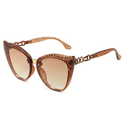 Sonnenbrille Fashion Frauen in Überrahmen-Gläser Retro Hohlgläser Leg Gradient Brille, 5