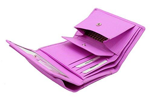 Signore progettista mini morbida borsa di cuoio della carta di credito portafoglio, identità & taschino scatola regalo da StarHide # 5545 Fucsia
