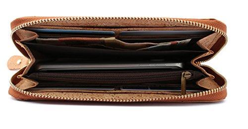 ECOVE - hochwertige und elegante Kork Damengeldbörse, Portemonnaie, Geldbörse mit vielen Fächern, Größe: 20cm x 10cm - 3