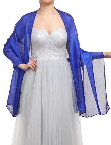 GardenWed Damen Glitzerschal Scarves Stola 70 * 180CM Sommer Tuch Stolen für Kleider in 22 Farben Royal Blue