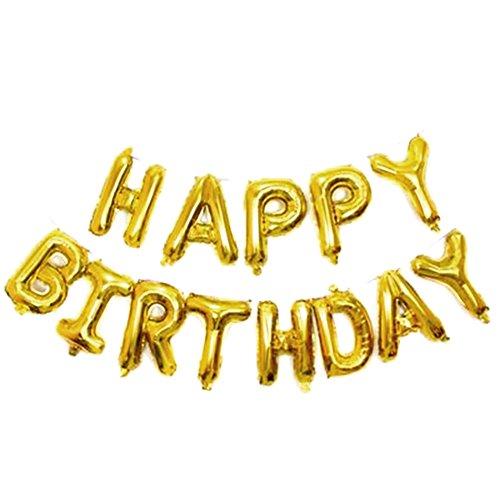 Doitsa Globos de cumpleaños Feliz de Letras Pancarta Happy Birthday película de Aluminio Globos, Condecoraciones cumpleaños artículos de Fiesta–Oro