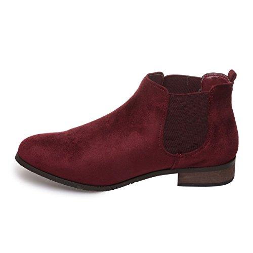 La Modeuse - Bottines style chelsea en simili daim Rouge