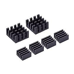 6 Pieces Black Aluminum Heatsink Cooler Cooling Kit For Raspberry Pi 3, Pi 2 & Model B, Pi Zero