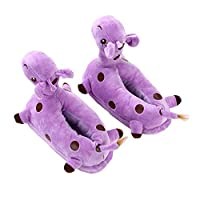 "lulalula Giraffe Cartoon Slipper, Cotton Winter Slippers for Girl Indoor, Carpet Slippers, Plush Slippers Home Slippers Free Siz for Youth Size Conversions 6 â€"" 10 Years Purple"