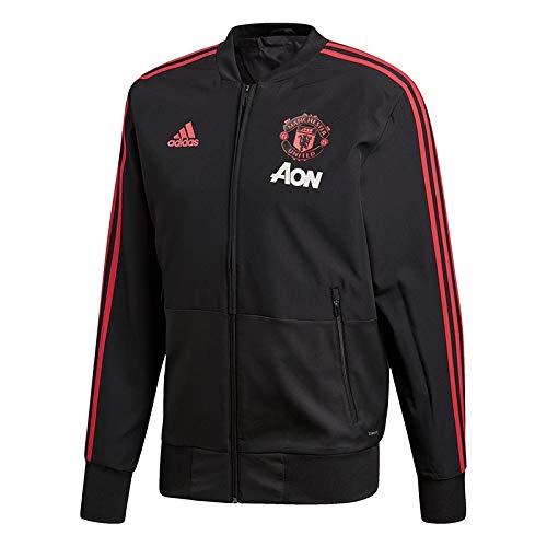 Adidas mufc pre, felpa uomo, nero/blaze red/core pink, xl