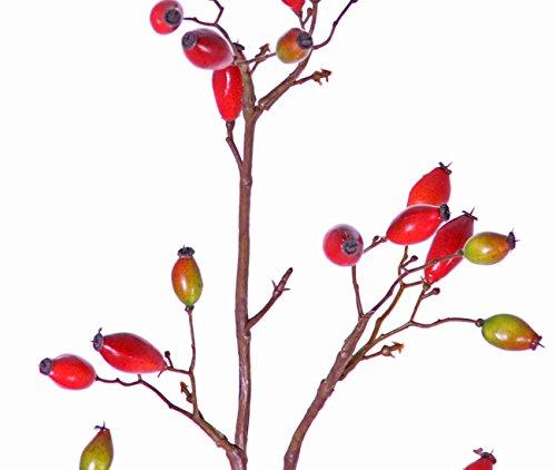 artplants Set 2 x Künstliche Heckenrose Edith, 41 Früchte, rot, 110 cm – Deko Wildrose/Kunstblumen