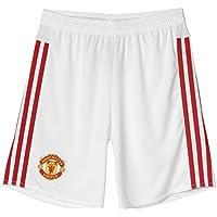 Adidas MUFC H SHO Y - Pantalón Corto para niño, Color Blanco/Rojo, Talla 176