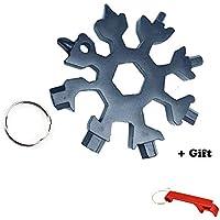 Neueste 18 in 1 Multitool Stahl Schneeflocken Werkzeug Card-Easy N Genie 18-in-1 Edelstahl Multi-Tool-Snowboard Multi-Tool-Titan, Outdoor Camping EDC Keychain / Flaschenöffner / Schraubendreher (1 PACK, Schwarz)
