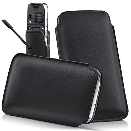 moex RUGGEAR RG310 | Hülle Schwarz Sleeve Slide Cover Ultra-Slim Schutzhülle Dünn Handyhülle für RUGGEAR RG310 Case Full Body Handytasche Kunst-Leder Tasche