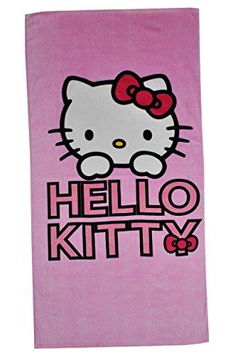 Badetuch Hello Kitty - Katze rosa - 70 cm * 140 cm Handtuch Strandtuch Baumwolle - Mädchen 70x140 für Kinder Badehandtuch pink Kätzchen