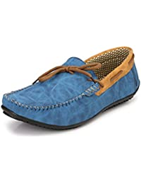 Knoos Men's Synthetic Leather Blue Loafers (BOB1010-BLU)