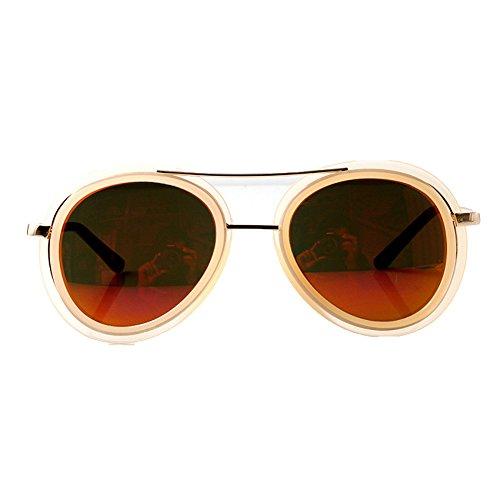 Accessoryo - Nackte Aviator Sonnenbrille mit hohen Brauen Detail und farbigen Revo Linsen