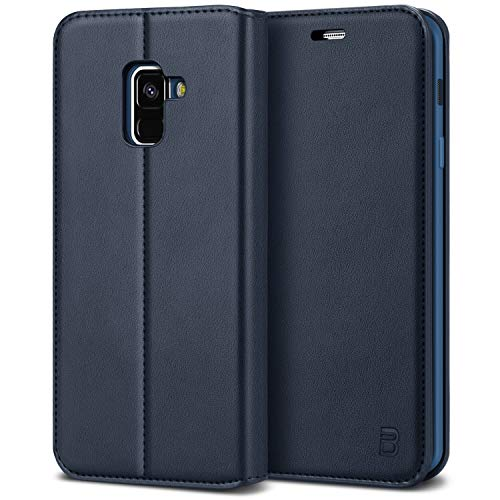 BEZ Hülle für Samsung A8 2018Hülle, Handyhülle Kompatibel für Samsung Galaxy A8Tasche, Case Schutzhüllen aus Klappetui mit Kreditkartenhaltern, Ständer, Magnetverschluss, Blau Marine