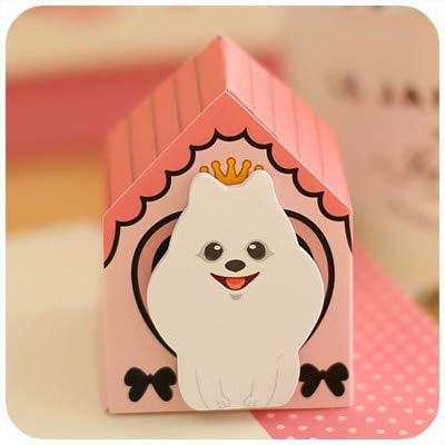 Wagonste - Kawaii lustige Hunde Katzen Aufkleber Dekor nett Tisch Tischdekoration Dekorative per Post Papier beachten [Rosa Dach Hund 3pcs]