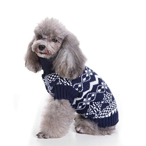 zunea Weihnachts Schneeflocke Rollkragen Kleine Haustiere Hund Katze Outdoor warm Puppy Pullover Strickwaren Kleidung Apparel Jumper