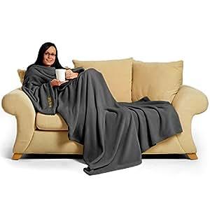 "Snug~Rug Deluxe Coral Fleece... The Blanket with Sleeves, Adult 60"" x 84"" - SLATE GREY"