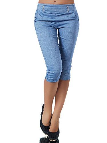 Diva-Jeans N829 Damen Caprihose Treggings Leggings Stoffhose Sommerhose Knielang 3/4 Capri, Farben:Blau, Größen:XL