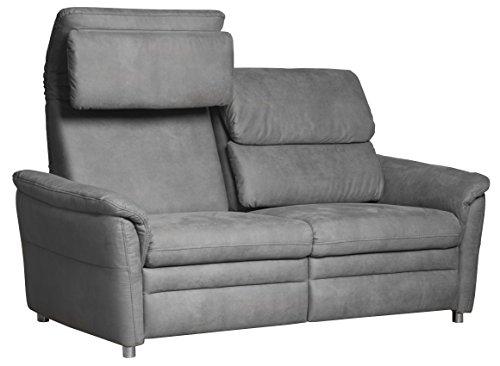 Cavadore 2-Sitzer Sofa Chalsay inkl. verstellbarem Kopfteil / mit Federkern / moderne Relax-Couch / Größe: 145 x 94 x 92 cm (BxHxT) / Farbe: Grau...