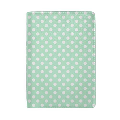 Polka Dots 2 Ice Mint Green Passport Holder Wallet Cover Case Leather Travel Wallet ID Card Case Dots Case Cover