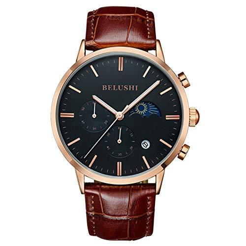 Smartwatches,Multifunktionale Wasserdichte Business Sport Quarzuhr Mode Trend Uhr Golden Shell Black Face Brown Gürtel