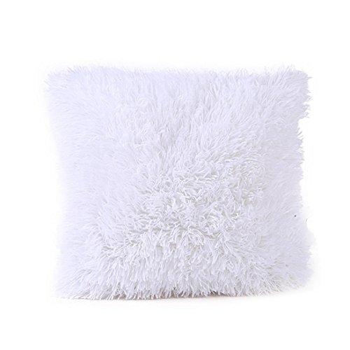 FORH weich flauschige Plüsch Kissenbezug 43cm*43cm sofa deko kissen gemütlich Sofa Taille Throw Kissenbezug Home Decor Chic bett kleine kissen (Weiß)