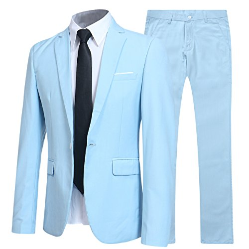 Allthemen Herren 2-Teilig Slim FIT Business Anzug Hellblau X-Large