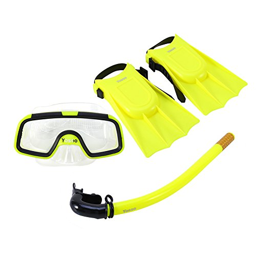 Bnineteenteam Schnorchel-Set für Kinder, Schnorchel-Pakete für Kinder im Alter von 3-4 Jahren mit Maske, Schnorchel-Scuba-Brille und Silikonfinnen (Gelb)