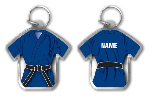 Preisvergleich Produktbild Gürtel schwarz personalisierbar Geschenk, Blau Gi geformte Martial Arts Schlüsselanhänger, Karate, Kickboxen, Judo, Ju Jitsu