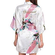 Yying Seda Bata de Satén Bata de Dama de Honor Floral Albornoz Corto Kimono Toga de