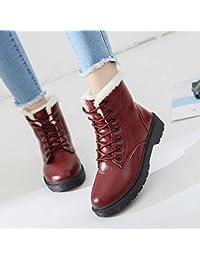 JUWOJIA Las Mujeres Botas De Nieve Invierno Cálido Pelaje Espeso Estudiante De Felpa con Suela Antideslizante Shoes,Red,37