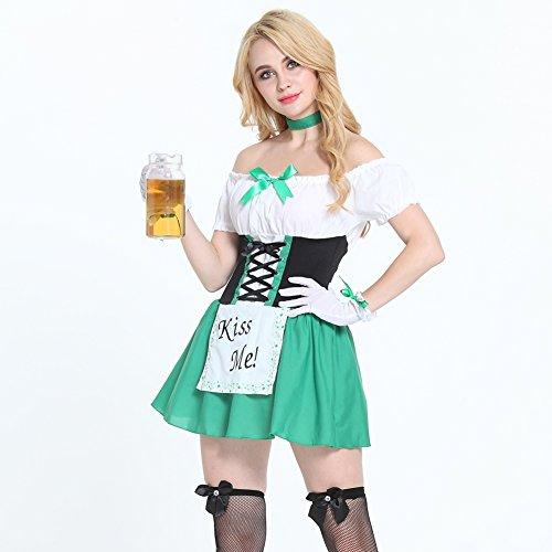 FeelinGirl Trachten Dirndl, Kleid mit Schürze, für Oktoberfest o Karneval, mit Spitze Grün