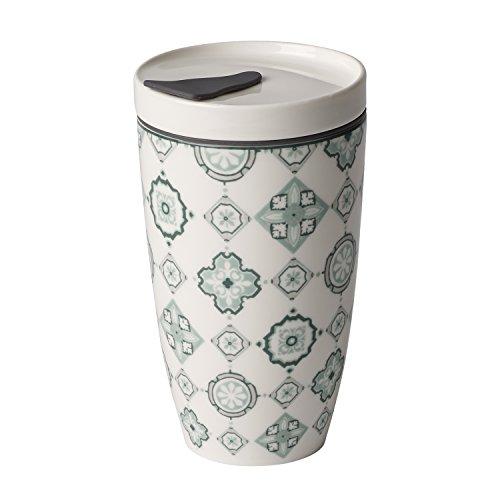 Villeroy & Boch To Go Jade Coffee-to-Go-Becher, 2-teilig, 350 ml, Premium Porzellan/Silikon, Grün/Grau -