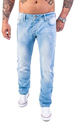 Rock Creek Herren Jeans Hose Denim Blau Straight-Cut Gerades Bein [RC-2119 - Hellblau - W40 L32]