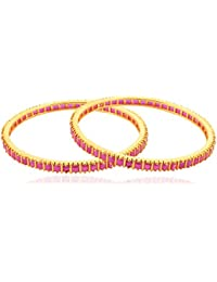 Allure International Gold Metal Bangle Set For Women, Set Of 2 (Size: 2.6, AIB 99)